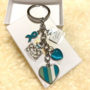 New Coach keychain blue heart Christmas Gift